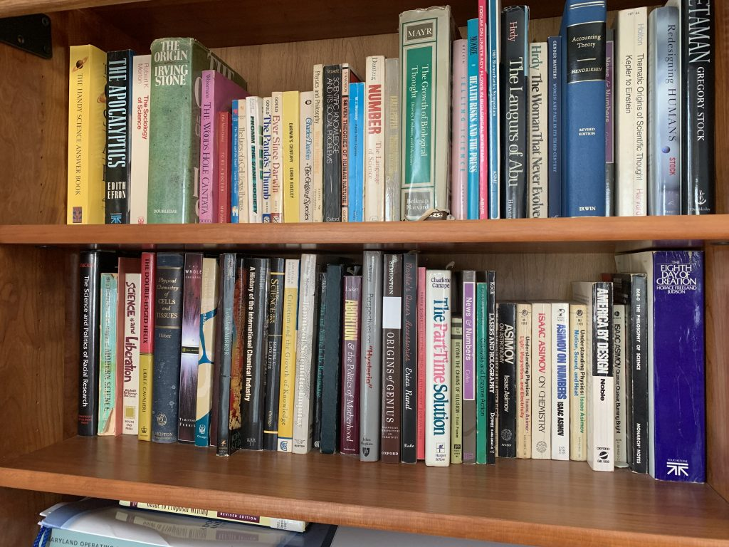 Popular science books in a home library